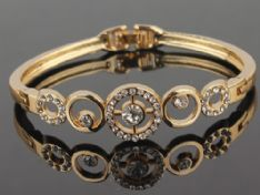 18k Gold Plated Round Clear Austrian Crystal Wrist Bracelet Bangle Jewelry